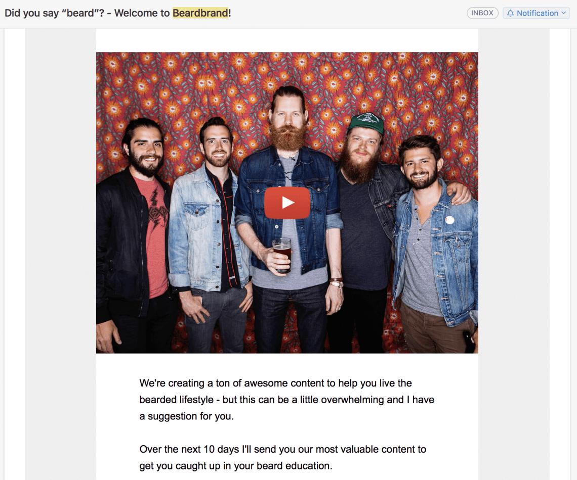 print screen of newsletter from Beardbrand