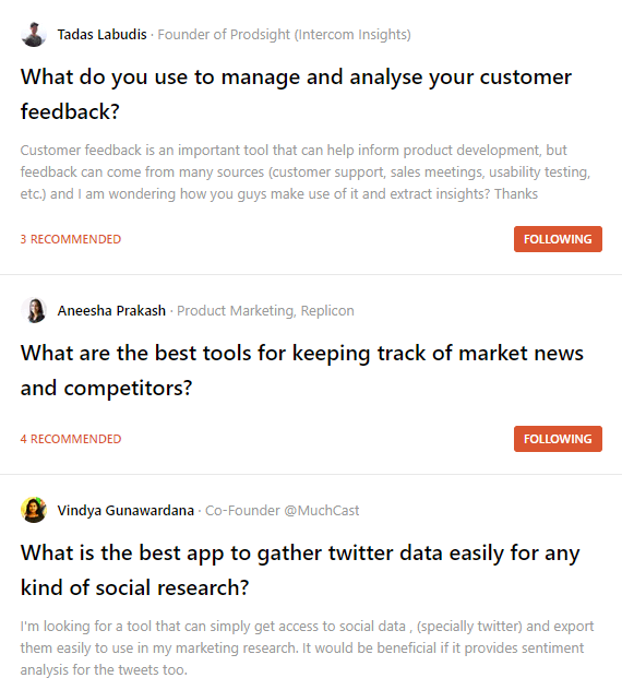 A screenshot of questions on Ask Producthunt