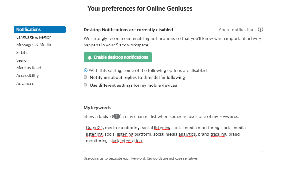 Setting and keyword preferences in a Slack community