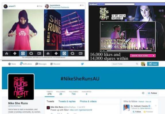 screenshots of various social media communities led by Nike for She Runs the Night