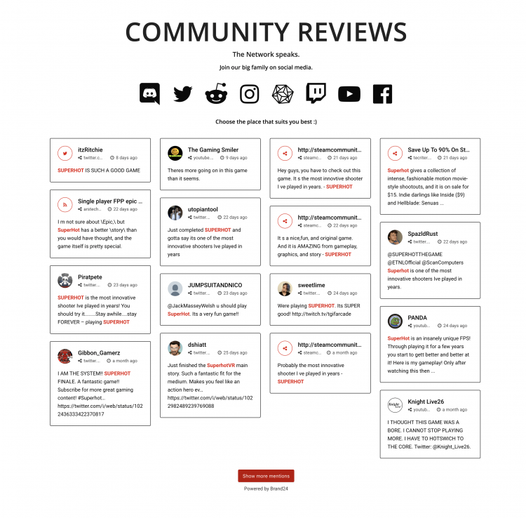 A print screen of live customer testimonials with positive mentions from customers