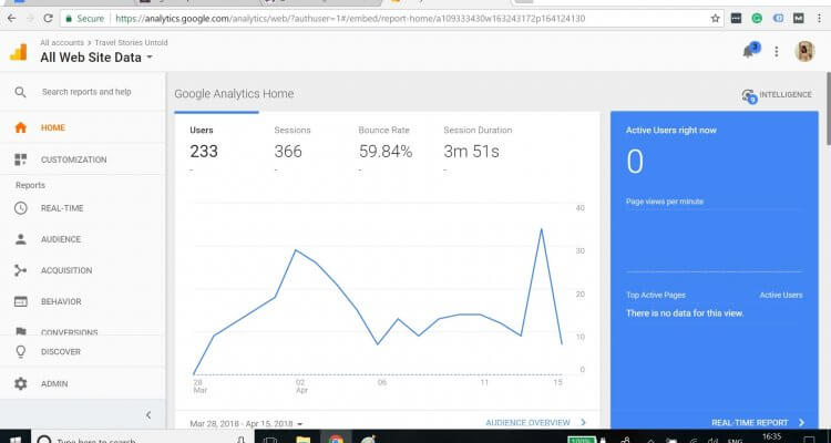 All Website Data View from Google Analytics