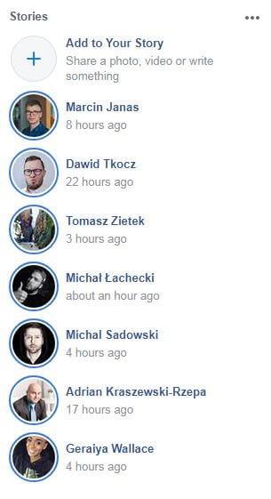 Facebook stories display of avatars