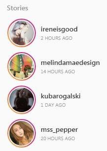 Instagram stories display of avatars