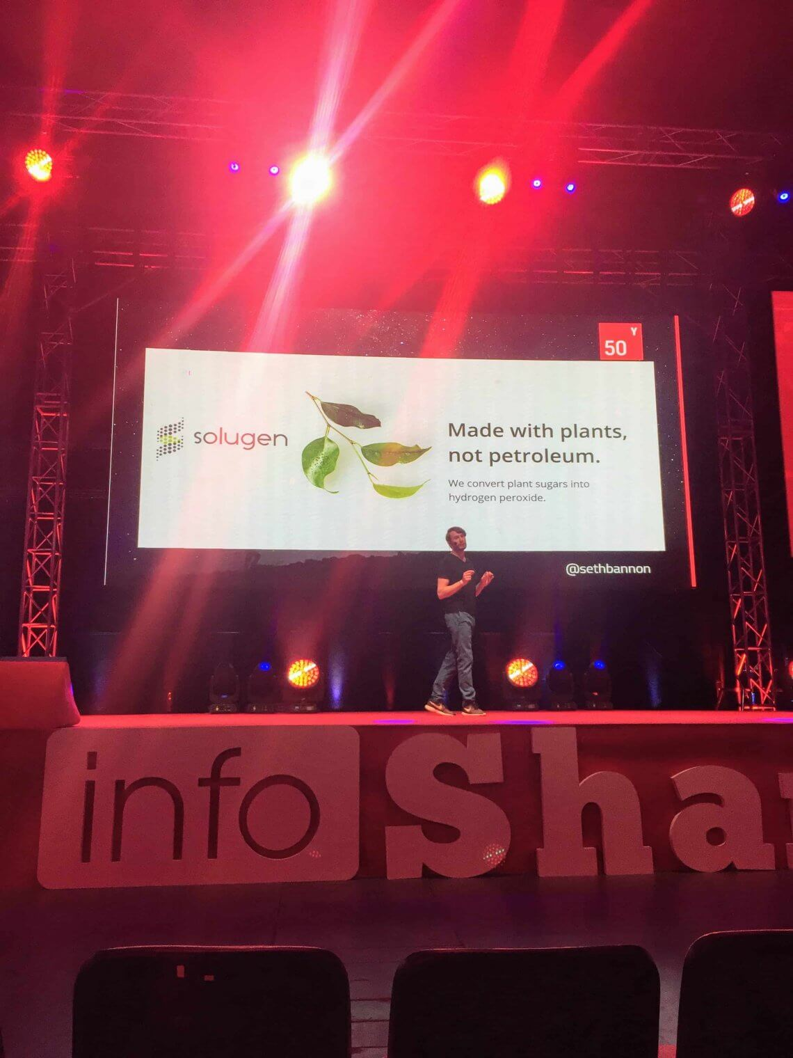 Seth Bannon on the stage of Infoshare conference
