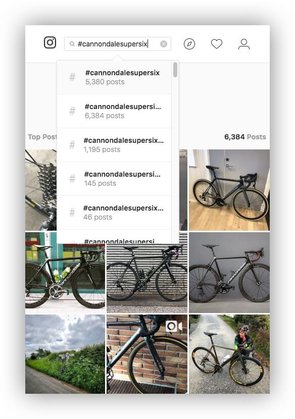 An image showing Instagram's search engine