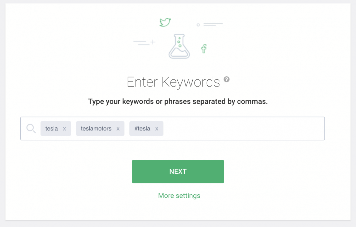 a screenshot of Brand24 dashboard with keywords for a project
