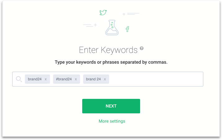 a print screen of Brand24 dashboard where you enter your keywords