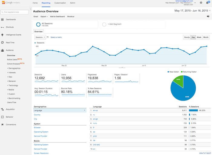 a print screen of google analytics page