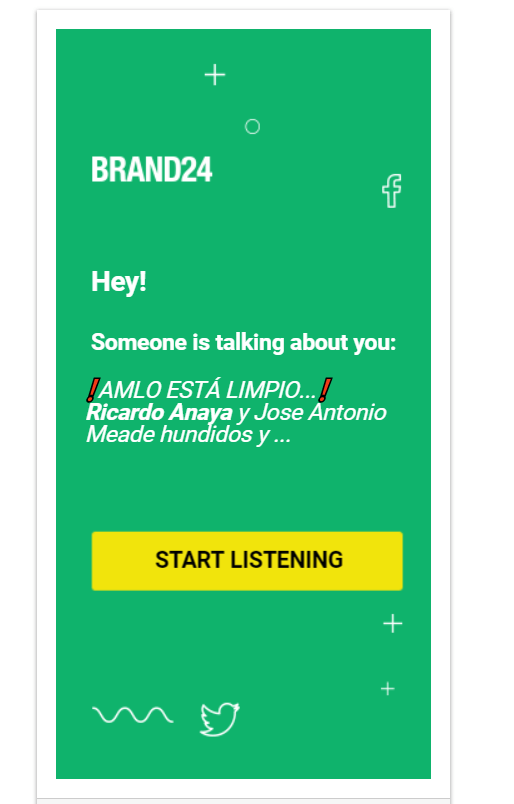 "Brand24 remarketing ad: ""Hey! Someone is talking about you..."""