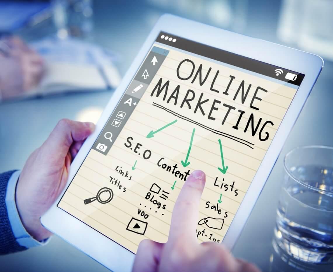 online marketing written on an ipad
