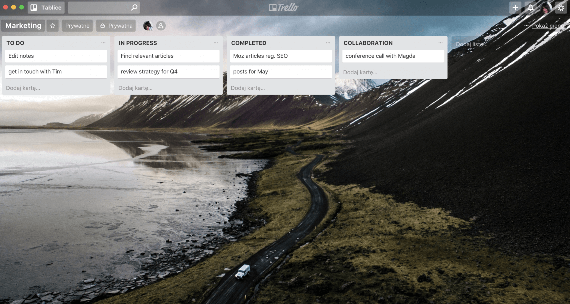 a print screen of trello dashboard with tasks on it