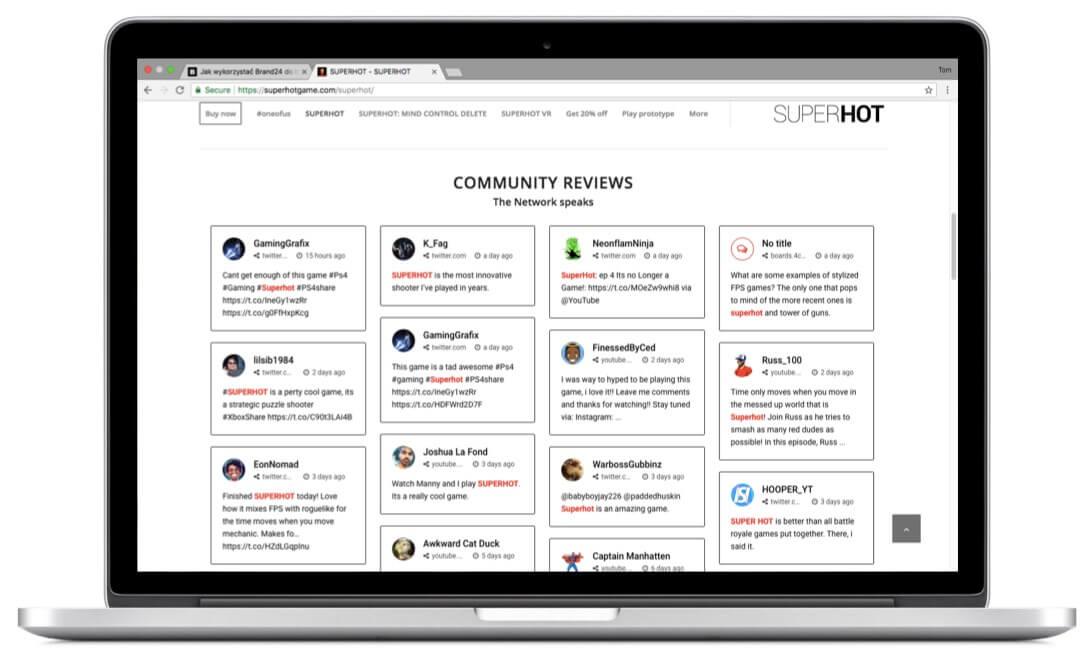 Live Customer Testimonials on Superhot's website