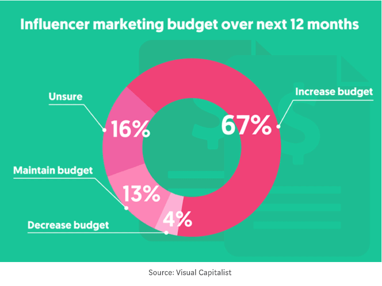 a diagram showing influencer marketing budget over next 12 months