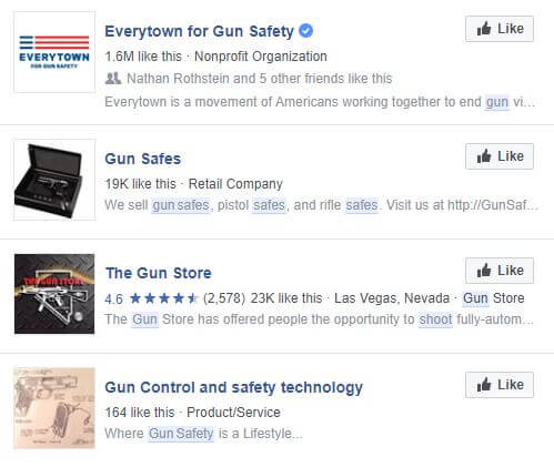 Facebook pages related to guns