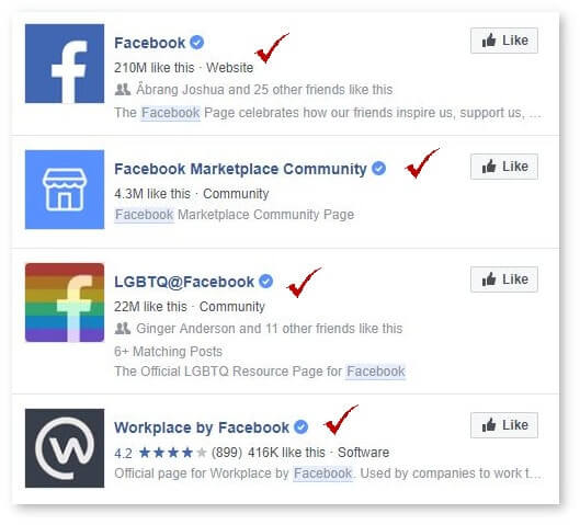 screenshot of verified pages on Facebook with blue check marks next to them