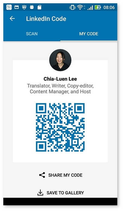 screenshot of LinkedIn profile with QR code