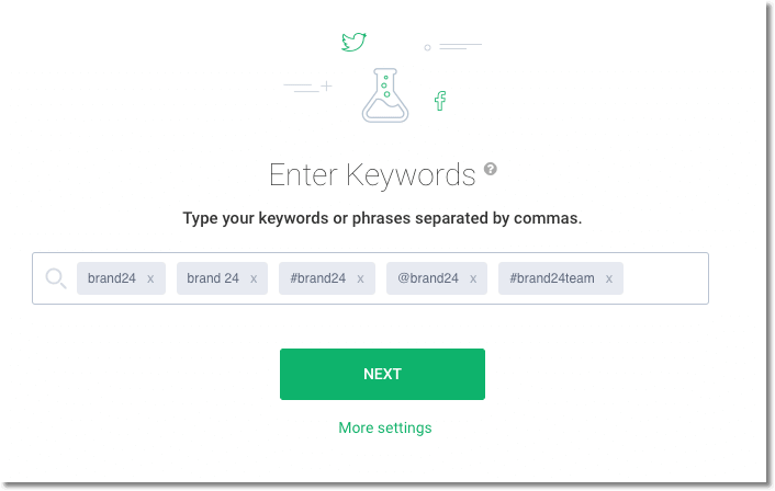 print screen of brand24 dashboard with keywords to monitor