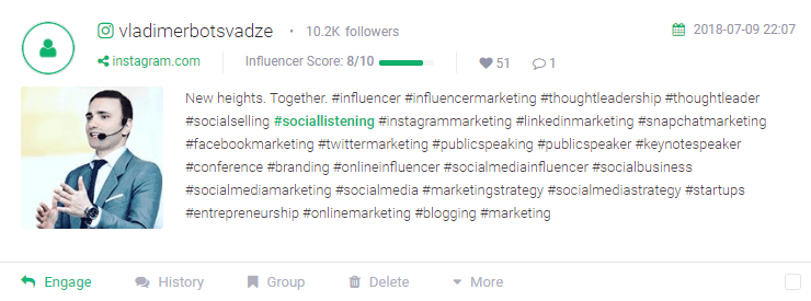 an example of a mention with influencer score assigned to it