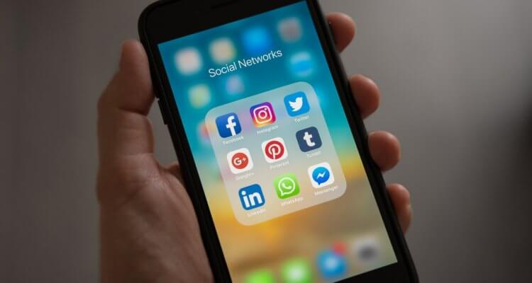 mobile phone with social media apps
