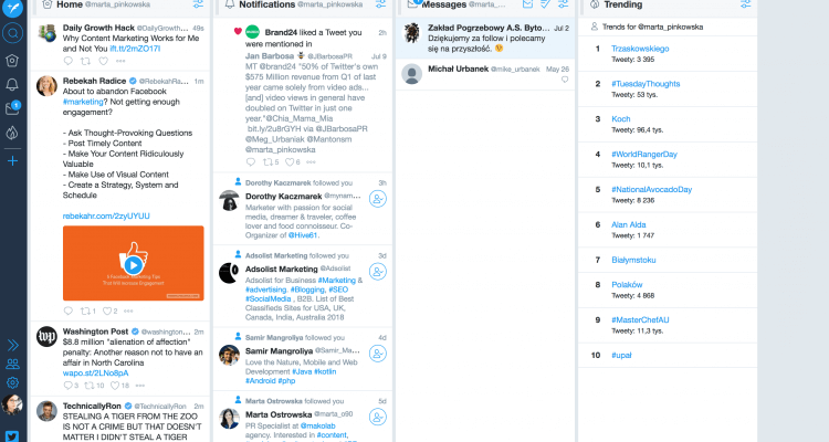 Print Screen Of Tweetdeck Dashboard