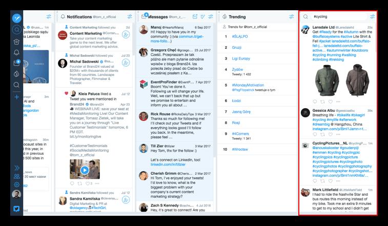 A screenshot of TweetDeck showing following Twitter hashtag