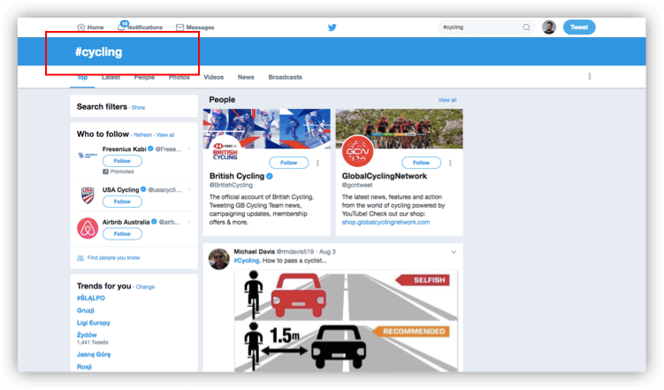 A screenshot showing how to manually follow a hashtag on Twitter