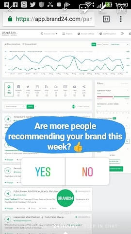 screenshot of Instagram poll sticker pasted on top of an image of Brand24's social media monitoring data