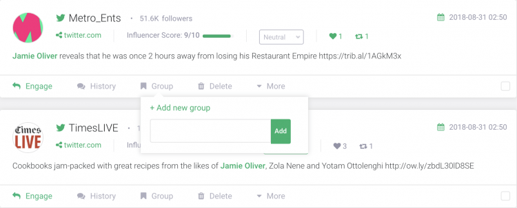 print screen of Brand24 dashboard with mention syou can group to display in a customer reviews widget