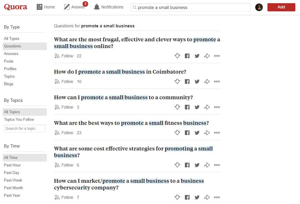 Examples of small business questions on Quora.