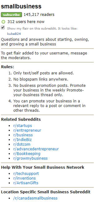 A sidebar of a small business subreddit.