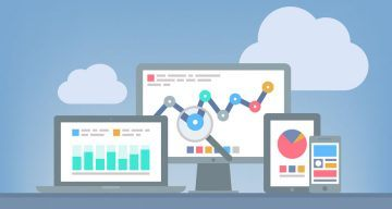 Flat design modern vector illustration concept of website analytics and SEO data analysis using modern electronic and mobile devices Isolated on grey background