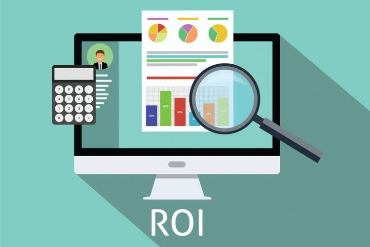 roi return on investment of social media computer calculator magnifying glass