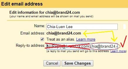 example of how to fill in reply-top address in Gmail to ensure your email is deliverable
