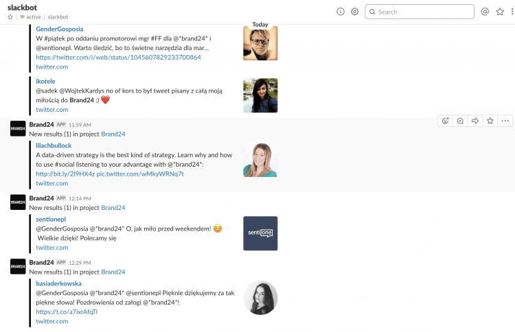Slack channel with notification from Brand24 with mentions that contain a certain hashtag