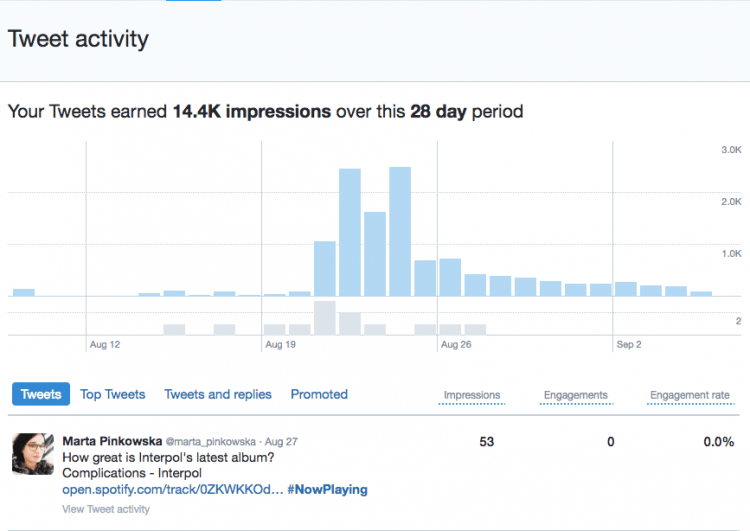 print screen of native Twitter analytics report