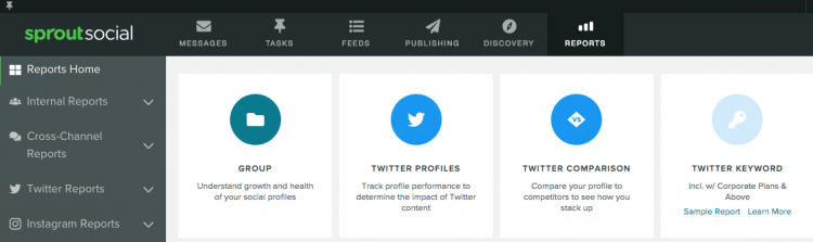 print screen of Sprout Social leading Twitter analytics tool