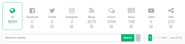 Categories and internal search bar inside Brand24 dashboard