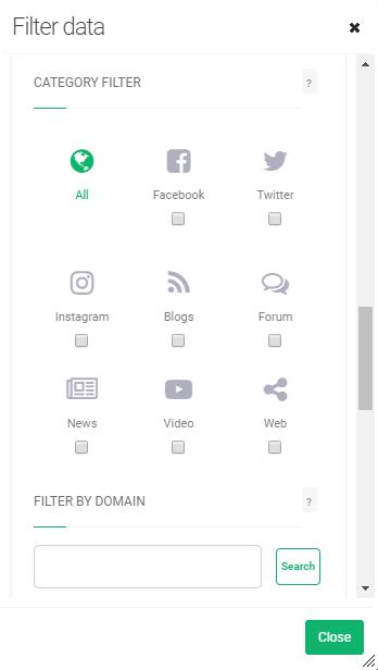 Category filter inside Brand24 dashboard