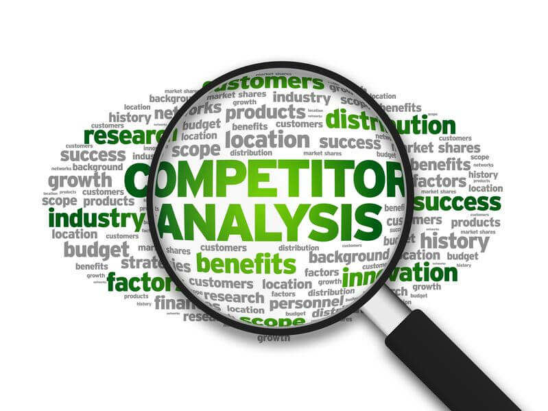 magnified illustration with the word competitor analysis on white background.