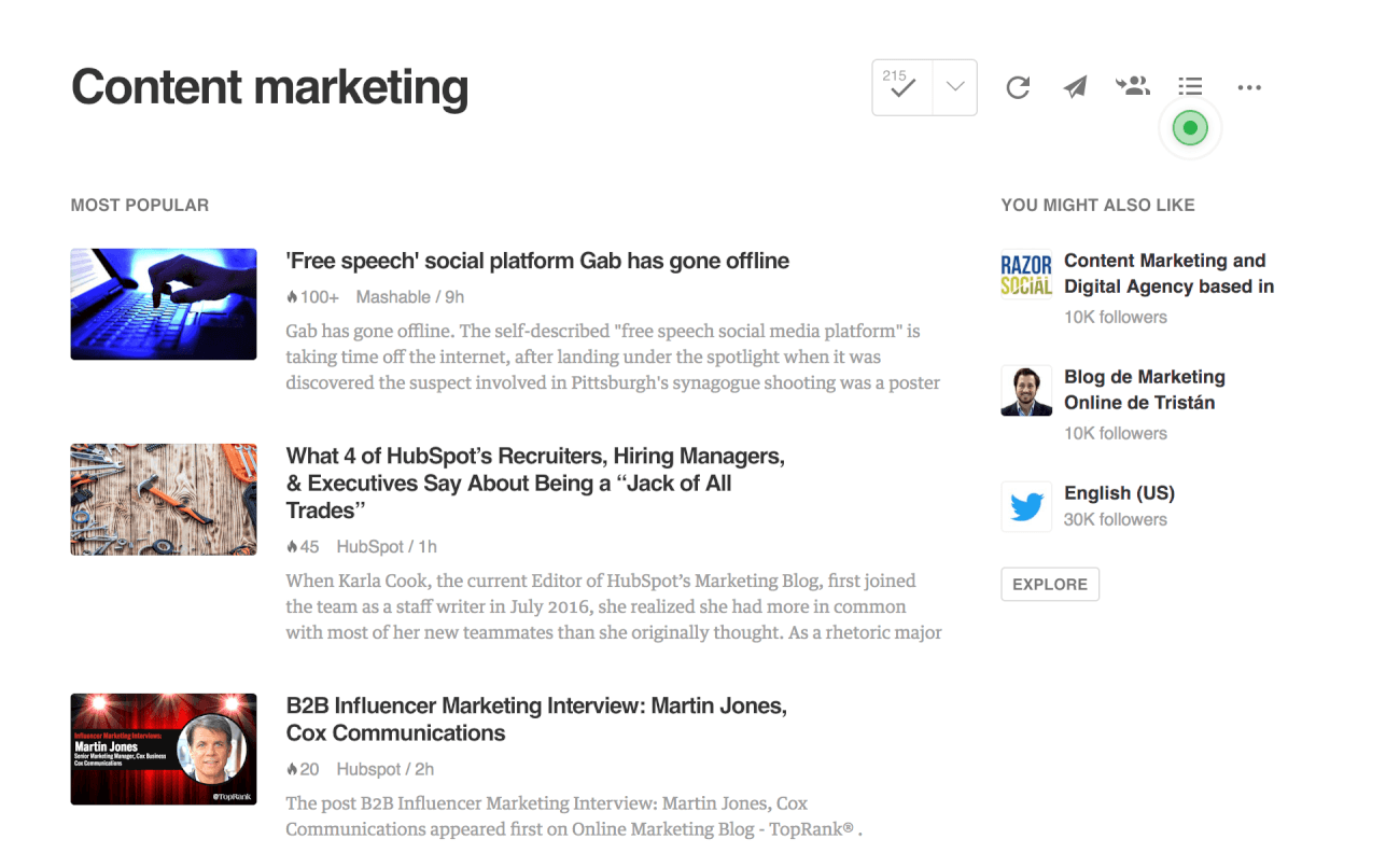 print screen from Feedly, a competitor research tool for content