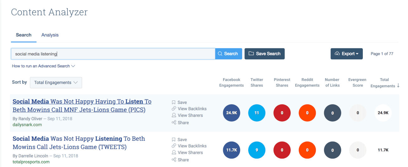 print screen from BuzzSumo, a competitors research tool for content