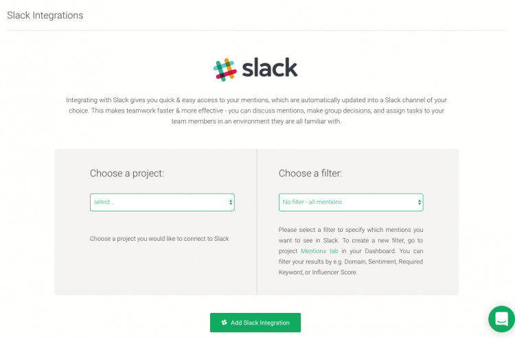 a slack integration project where you can connect your project to a slack channel