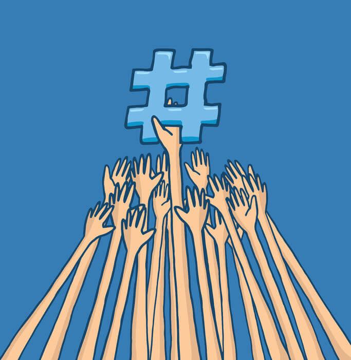 cartoon illustration of arms struggle to reach trending topic hashtag