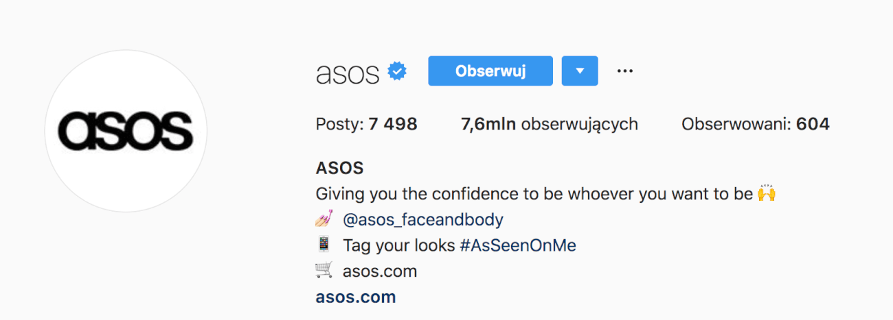print screen of Asos Instagram account which shows the hashtag you can use to get featured on asos account and boost their social media engagement