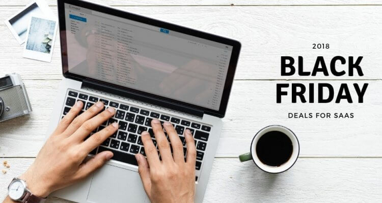 Graphic dedidacted to Black Friday deals for saas. It shows hands typing on a laptop keyword, which is on a white desk with coffe, camera and photos aside.