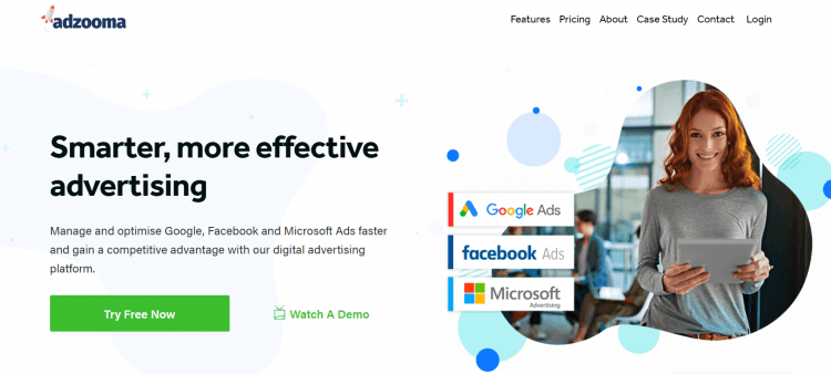 Print screen presenting the home page of Adzooma, a SaaS tool, which is offering a special discount for Black Friday and Cyber Monday.