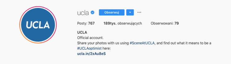A higher education institution Instagram account description where you can find a strong call-to-action to promote branded hashtag