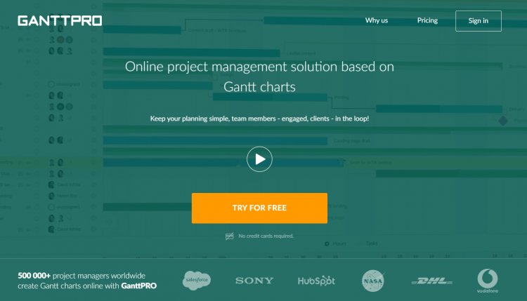 Print screen presenting the home page of Ganttpro , a SaaS tool, which is offering a special discount for Black Friday and Cyber Monday.
