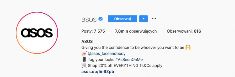 a print screen of ASOS bio information from Instagram with clearly stated call-to-action